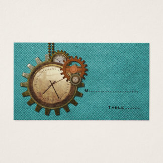 Vintage Clock Place Card, Turquoise