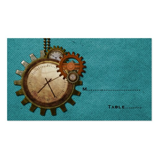 Vintage Clock Place Card, Turquoise Business Cards