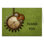Vintage Clock Thank You Card, Green Note Card