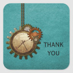 Vintage Clock Thank You Stickers, Turquoise Square Sticker