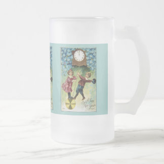 Vintage Clock Turns Midnight Frosted Glass Mug