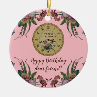 Vintage Clock with Flowers Birthday Party Christmas Ornament