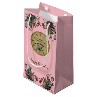 Vintage Clock with Flowers Birthday Party Small Gift Bag