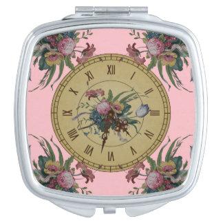 Vintage Clock with Flowers Vanity Mirror