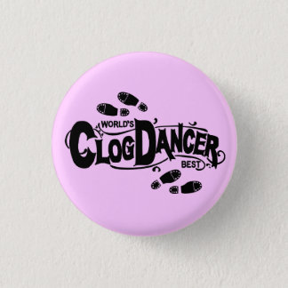 Vintage Clog Dancer Clogging Pink Black Shoes 3 Cm Round Badge