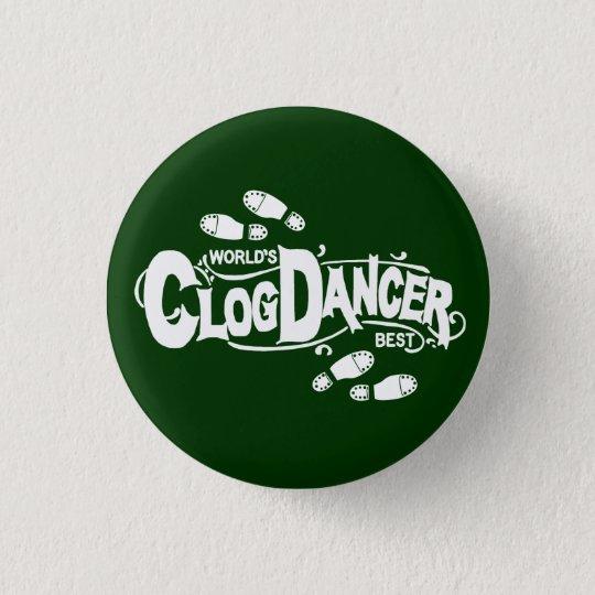 Vintage Clog Dancer Clogging White 3 Cm Round Badge