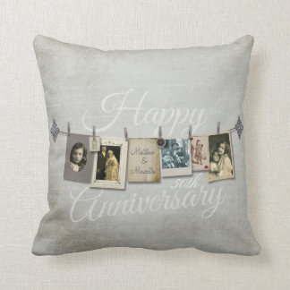 Vintage Clothesline Anniversary Picture Pillow