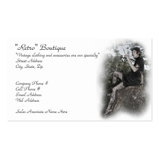 Vintage clothing store business card