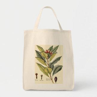 Vintage cloves illustration groceries tote bag