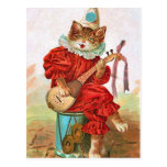 Vintage Clown Jester Musician Cat Mandolin Postcard