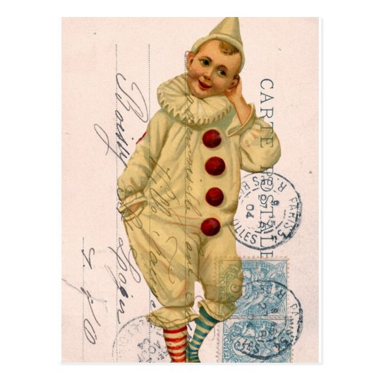 Vintage Clown Postcard Digital Art