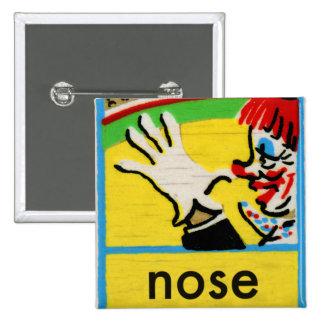 Vintage Clowns Spelling Alphabet N is for Nose 15 Cm Square Badge