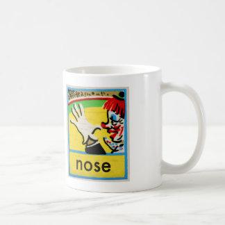 Vintage Clowns Spelling Alphabet N is for Nose Basic White Mug