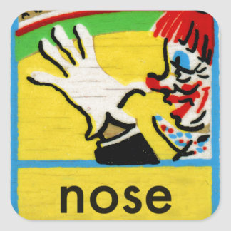 Vintage Clowns Spelling Alphabet N is for Nose Square Sticker