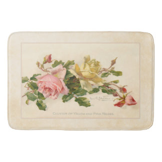 Vintage Cluster of Pink and Yellow Roses Bath Mat
