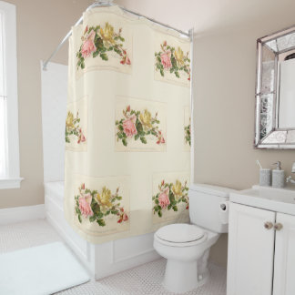 Vintage Cluster of Pink and Yellow Roses Shower Curtain