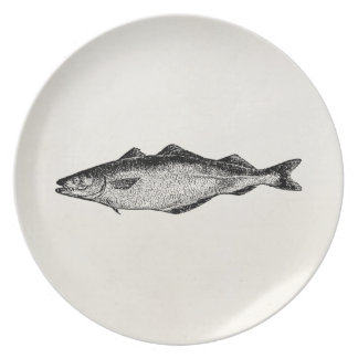 Vintage Coal Fish - Fishes Template Blank Plate