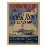 Vintage Coast Guard military recruiting poster