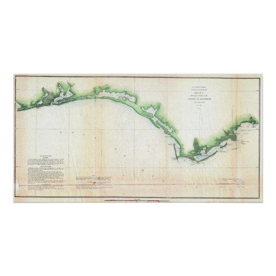 Vintage Coast of Florida Panhandle Map Poster