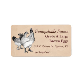 Vintage Cochin Chickens Egg Carton Label Address Label