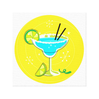 Vintage cocktail in Bright colors Canvas Print