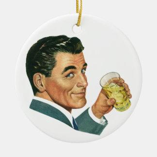 Vintage Cocktails Beverages, Man Drinking Drinks Round Ceramic Decoration
