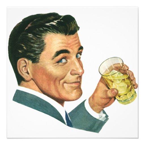 Vintage Cocktails Beverages, Man Drinking Drinks Invites