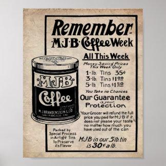 Vintage Coffee Ad MJB Coffee Sale Print
