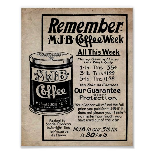 Vintage Coffee Ad MJB Coffee Sale Print