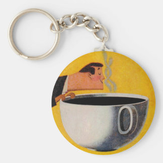 Vintage Coffee Advertisement Basic Round Button Key Ring