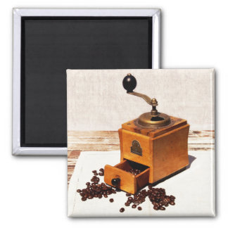 vintage coffee mill and coffee beans square magnet
