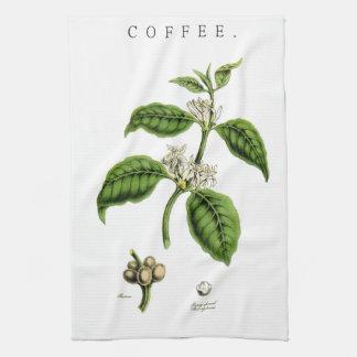 Vintage Coffee Plant Illustration Tea Towel