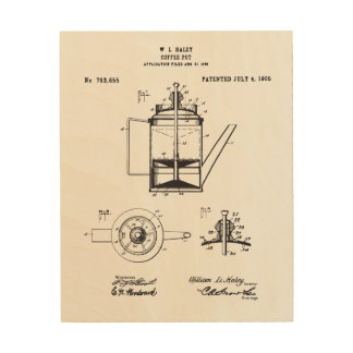 Vintage Coffee Pot Patent Print, Coffee Patent Wood Wall Art
