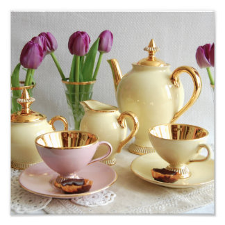 Vintage coffee set and tulips photo art print