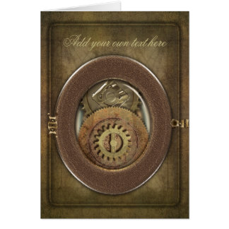 Vintage Cogs Steampunk Personalized Greeting Card