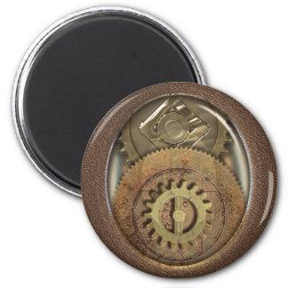 Vintage Cogs Steampunk Round Magnet
