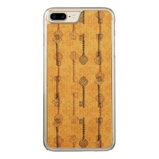 Vintage Collage Antique Keys Sepia Grungy Design Carved iPhone 8 Plus/7 Plus Case