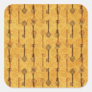 Vintage Collage Antique Keys Sepia Grungy Design Square Sticker