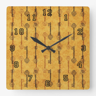 Vintage Collage Antique Keys Sepia Grungy Design Wallclock