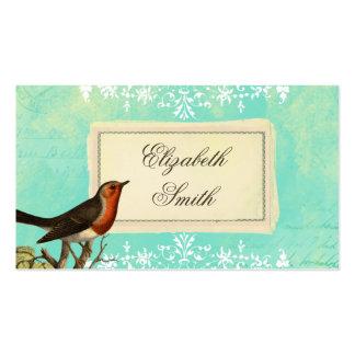 Vintage Collage Bird Blue Business Card