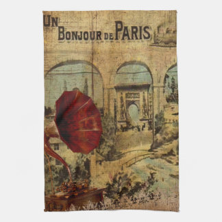 Vintage Collage, Bonjour de Paris Tea Towel