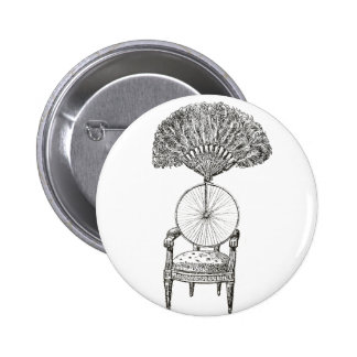 Vintage collage chair, bicycle and fan - steampunk 6 cm round badge