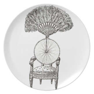 Vintage collage chair, bicycle and fan - steampunk plate