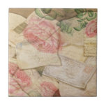 Vintage Collage, French Letters and Post Cards Tiles