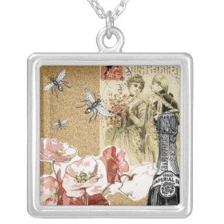 Vintage Collage Square Pendant Necklace