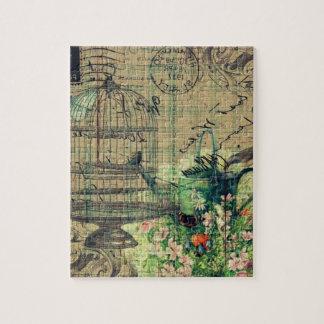 Vintage Collage w/Bird & Birdcage Garden Jigsaw Puzzle
