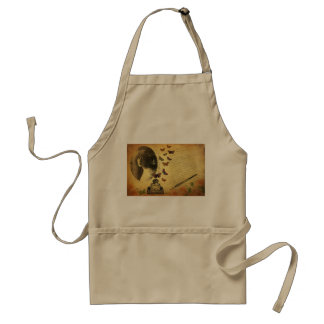 Vintage Collage Woman Writer and Butterflies Apron