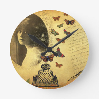 Vintage Collage Woman Writer and Butterflies Clocks