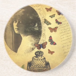 Vintage Collage Woman Writer and Butterflies Drink Coasters