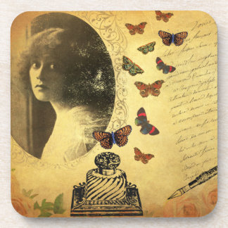 Vintage Collage Woman Writer and Butterflies Drink Coaster